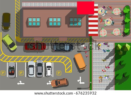 top view fast food restaurant