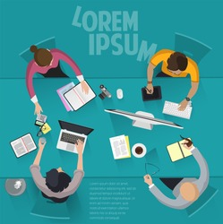 Top view flat design vector office people  work . Different characters, styles and professions. Creative teamwork process, diverse acting poses front and back view collection.