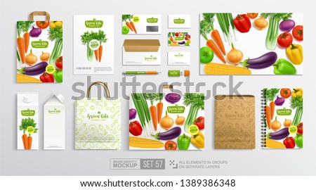 Top view food package with and realistic vegetables hand written Vegetal Logo -Branding Mock-Up set. Mockup of carton package for Vegan Restaurant, Organic food shop. Paper craft package  mockup