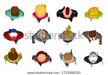Top view group of people. Mans and womans on white Stock fotó ©