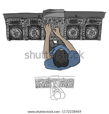 Top view hip hop DJ scratches turntables vector illustration sketch doodle hand drawn with black lines isolated on white background