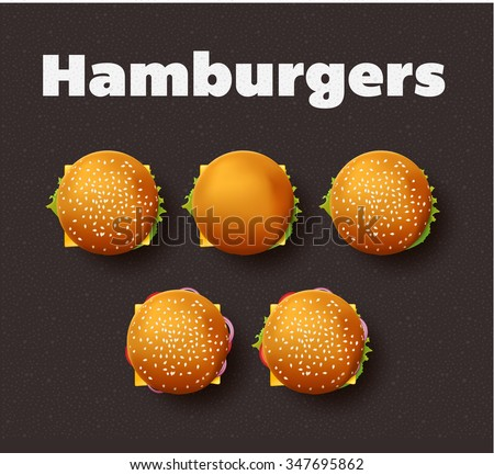 Top view illustration of hamburgers. Realistic vector set