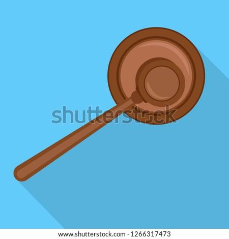 Top view judge hammer icon. Flat illustration of top view judge hammer vector icon for web design