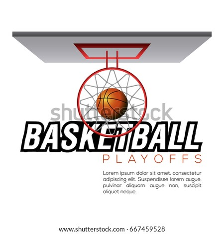 Top view of a basketball net and a ball, Vector illustration