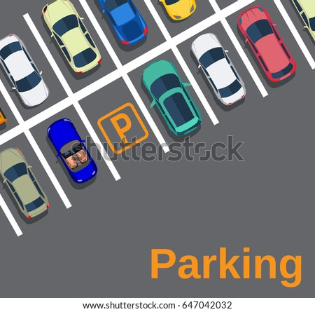 top view of a city parking lot