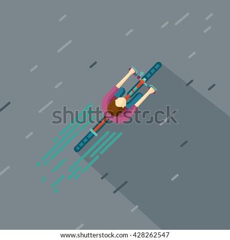 top view of a man riding bike