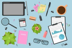 Top view of a modern and stylish workplace. Desktop workplace background. Laptop, computer, folder, documents, notepad, business card, coffee, flash drive, glasses, pencil, pen. Vector illustration.