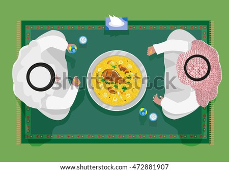 Top view of Arab people in traditional costume are sitting on a carpet and are using their hands to eat Kabsa rice food in flat lay illustration style. Editable Clip Art.
