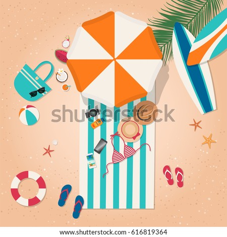 Top view of beach in summer holidays concept