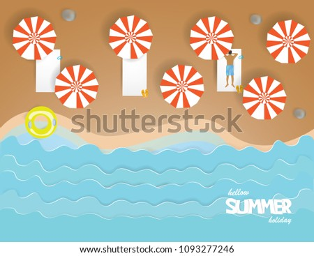 top view of beach with umbrella