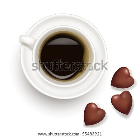 Top view of black coffee cup with chocolate isolated on white background. Photo-realistic vector