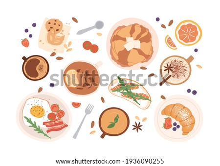 Top view of breakfast food and drinks isolated on white background. Set of meals for brunch or lunch. Colored flat vector illustration of bacon and egg, pancakes, croissant, cups of tea and coffee