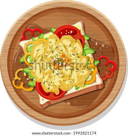 Top view of breakfast set in a dish in cartoon style isolated illustration