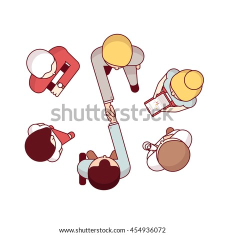 Top view of business man shaking hands closing partnership deal. Modern flat style thin line vector illustration isolated on white background.