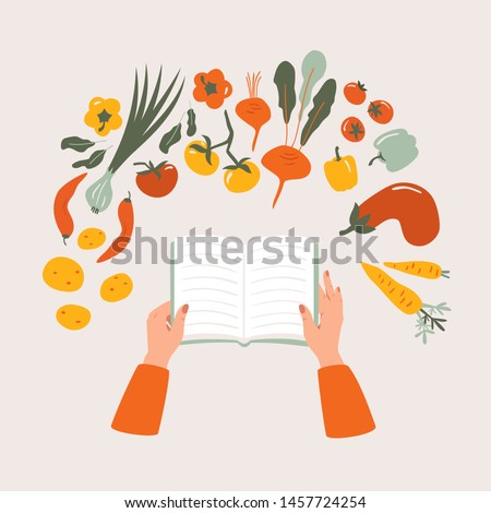 Top view of cartoon cookbook in hand on the table surrounded by various vegetables. Recipe vegetarian book  vector concept isolated from light background