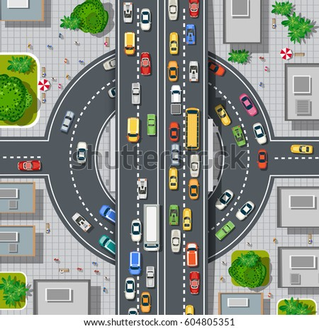 top view of city map