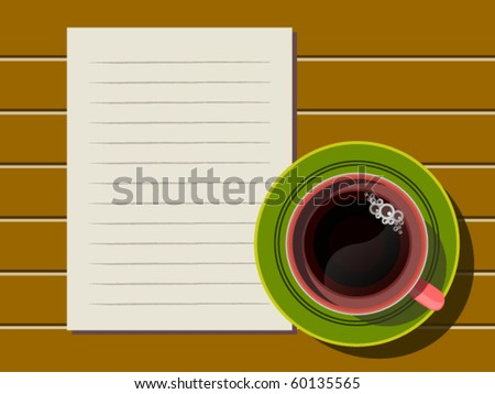 Top view of coffee cup and note paper on wood table
