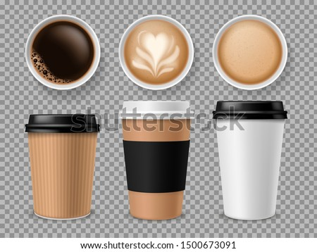 Top view of coffee cup. Espresso and latte or cappuccino in takeaway paper cups isolated vector professional different model coffe brand realistic package set