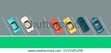 Top view of colorful car row on a parking lot, grey asphalt vehicle park with one last free spot left in diagonal angle slots, flat cartoon banner of city transport space - vector illustration