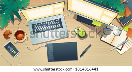 Top view of designer workspace with graphic tablet, laptop, monitor, coffee cup and plants on wooden table. Vector cartoon flat lay of creative artist workplace with mobile phone and notebook Foto stock ©