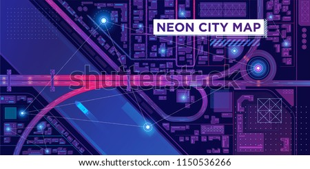 Top view of futuristic smart city map. Virtual digital communication city network. Spy technology illustration.