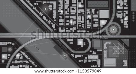 Top view of futuristic smart city map. Virtual digital communication city network. Spy technology illustration.