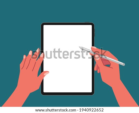 Top view of hands writing, drawing, painting on blank tablet with stylus pen for digital painting, graphic design or lecture flat vector illustration. Working on blank space tablet. Foto stock ©