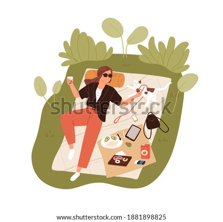 Top view of happy young woman resting outdoors and lying on picnic blanket and petting her cat. Relaxing alone and spending time in nature at summer. Flat vector illustration Photo stock ©