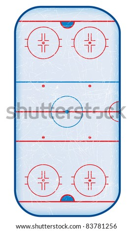top view of hockey rink - stock vector