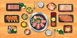 Top view of korean food on a wooden table vector Illustration, Delicious korean BBQ grill with all small side dishes set, beef and pork korean barbecue, asian food