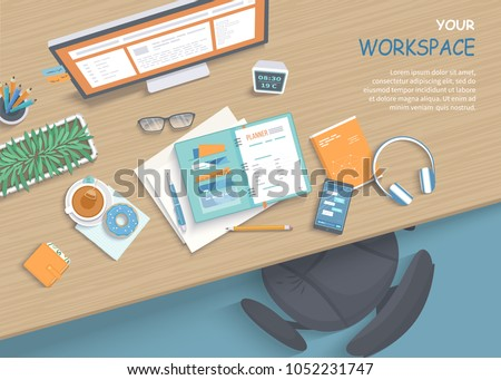 Top view of modern and stylish workplace. Wooden table, armchair, office supplies, monitor, books, notebook, headphones, phone, glasses, pen, paper, tea, donuts. Vector illustration