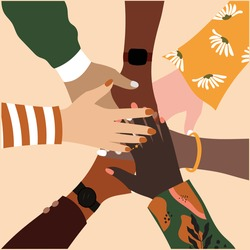 Top view of multicolored stacking hands flat vector illustration - International friendship concept with multiethnic people representing peace and unity against racism. Teamwork, cooperation concept.