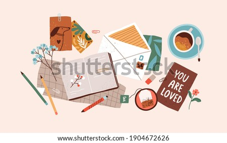 Top view of open notebook, envelope, postcards, greeting cards, pens and cups of tea and coffee. Preparation for holidays. Composition of scattered objects. Colored flat vector illustration
