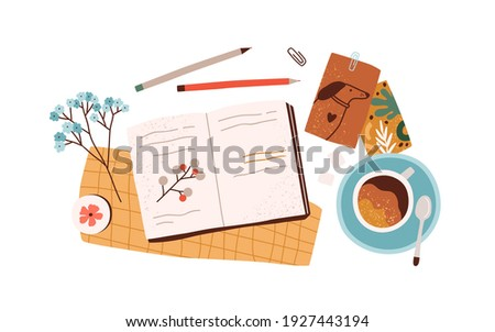 Top view of open notebook or diary with notes, postcards, greeting cards, pens and cup of coffee. Preparation for holidays. Composition of scattered objects. Colored flat vector illustration