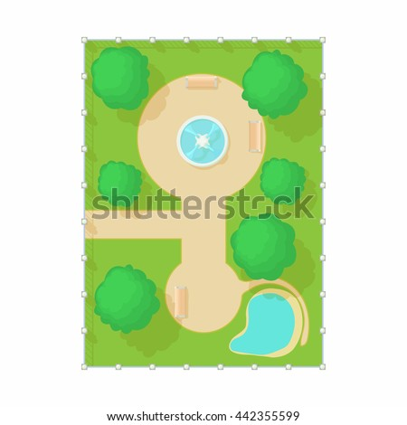 Top view of park with a fountain icon in cartoon style. Illustration of top view fountain aerial and trees vector icon isolated on white