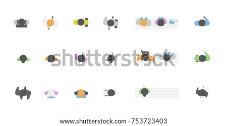 Top view of people doing activities, men and women sitting on a bench, with a cup of coffee, a phone with a backpack, a bag . View from above. Cartoon flat style vector illustration.