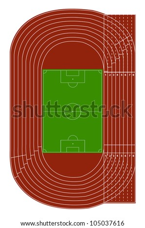 Area Auto Racing Tracks on Top View Of Running Track And Soccer Field On White Stock Vector