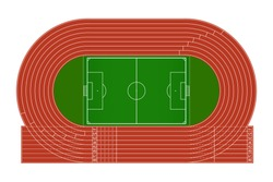 Top view of running track and soccer field on white background - Vector illustration