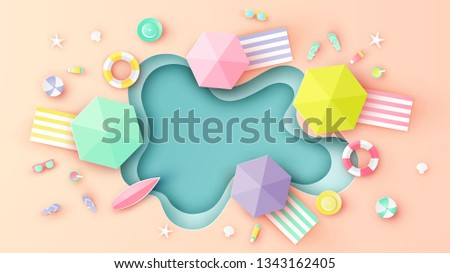 Top view of sea beach with ball, swim ring, sunglasses, surfboard, sunscreen, sandals, starfish, hat, juice and beach blanket placed on the beach. paper cut and craft style. vector, illustration.
