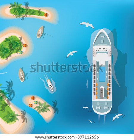 top view of sea  ship and beach