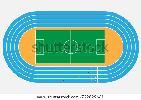 top view of soccer or football stadium with  Running Tracks