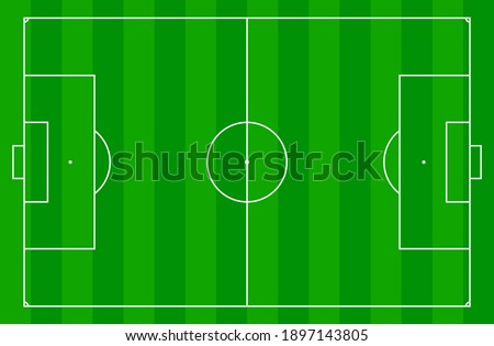 top view of standard size layout empty sport soccer field vector graphic illustration. Team sports recreation competition background  Stock photo ©