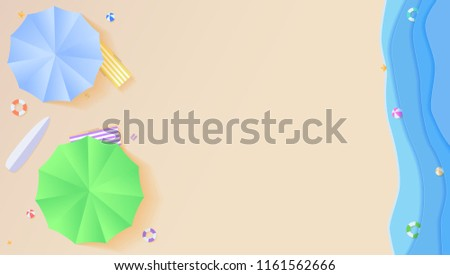 Top View Of Summer Beach In Style Cut Out Paper Flat Lay Aerial Colourful Umbrellas Icons