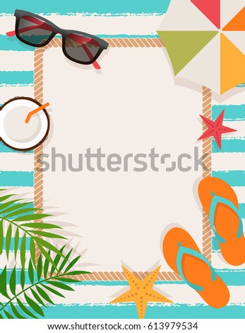 Top view of summer holidays flat design for card design template
