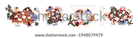 Top view of teams working together at conference tables. Set of people during brainstorming, work or education process, sitting around desks. Colored flat vector illustration isolated on white