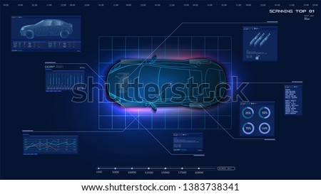 Top view of the car. Futuristic car service, scanning and auto data analysis. Car auto service, Modern design, diagnostic auto. Virtual graphical interface HUD GUI. Vector