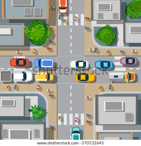 Top view of the city. Urban crossroads with cars and houses, pedestrians. Background town map pattern  streets, intersection, roof and buildings. Cityscape aerial landscape from  above