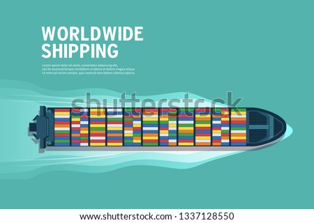 Top view of the industrial marine vessel at sea banner. Sea transportation logistic. Sea Freight. Maritime shipping. Merchant Marine. Cargo ship.
