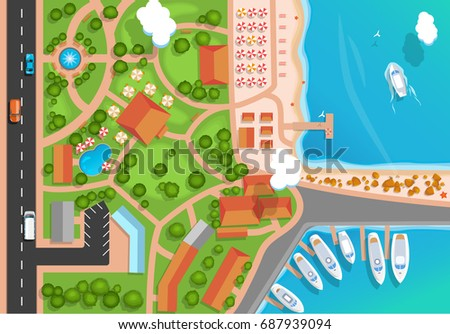 top view of the resort town