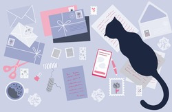 Top view of the work table with envelopes and letters. Worktable with mug, letters, papers and cat. Flat vector illustration.